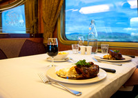 Dinner in the Queen Adelaide restaurant, The Ghan, Great Southern Rail